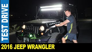 2016 Jeep Wrangler Zombiecon test drive at night strong custom roof lights by Jarek Palm Harbor USA