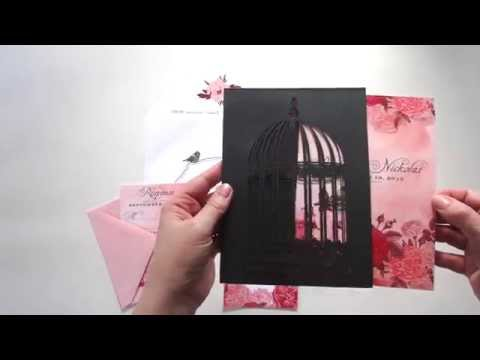 Laser Cut Birdcage Wedding Invitations YouTube