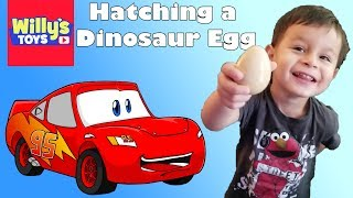 Disney Cars 3 Crazy 8 Crashers and Hatching a REAL Dinosaur Egg  and TONS of Blind Bag Toys