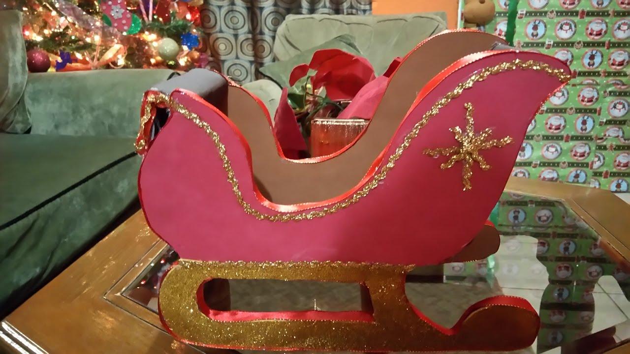 Trineo de santa claus o papa noel hecho con carton moldes for Hacer papa noel grande
