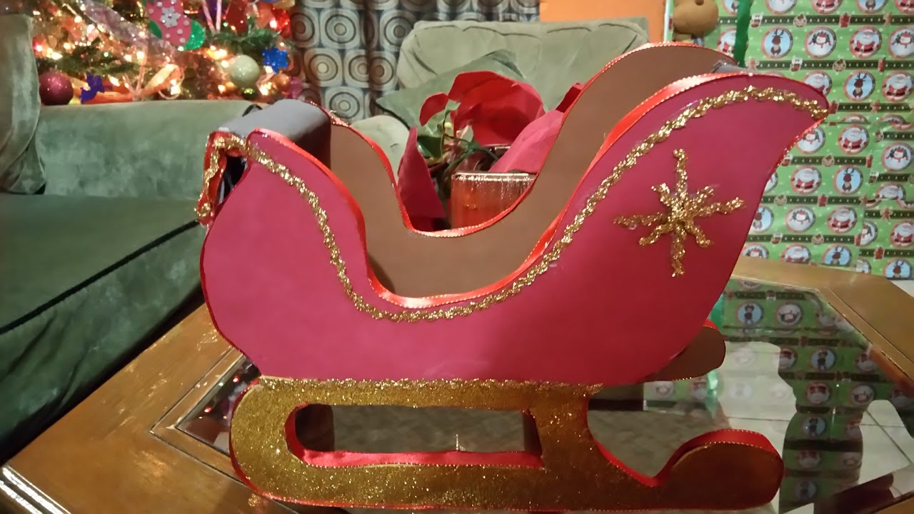 trineo de santa claus o papa noel hecho con carton moldes
