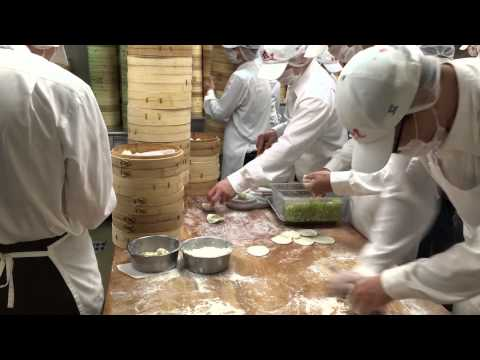 Vegetarian Soup Dumpling Assembly Line at Din Tai Fung in Taiwan