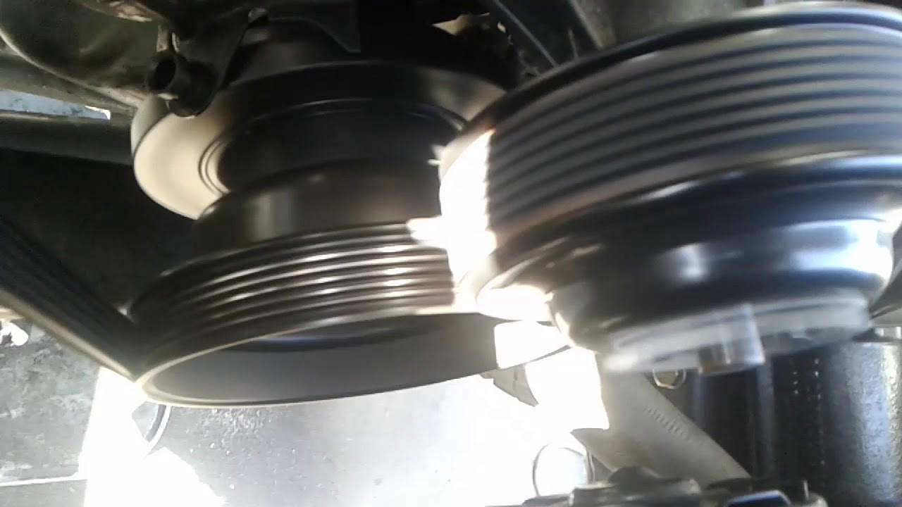 belt squeak crankshaft pulley wobble harmonic balancer damper failed broken [ 1280 x 720 Pixel ]