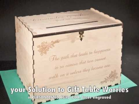 Laser Engraved Wedding Gift Card Box