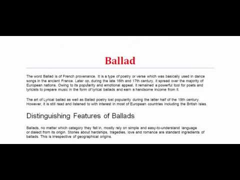 Ballad| What is Ballad? Figure of Speech | Literary Terms | Ballad ki?