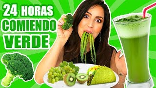 24 HORAS COMIENDO VERDE | RETO SandraCiresArt | All Day Eating Green Food Challenge