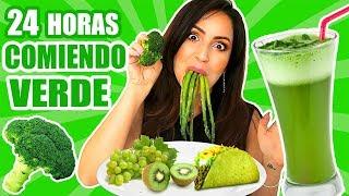 24 HORAS COMIENDO VERDE | RETO SandraCiresArt | All Day Eating Green Food Challenge