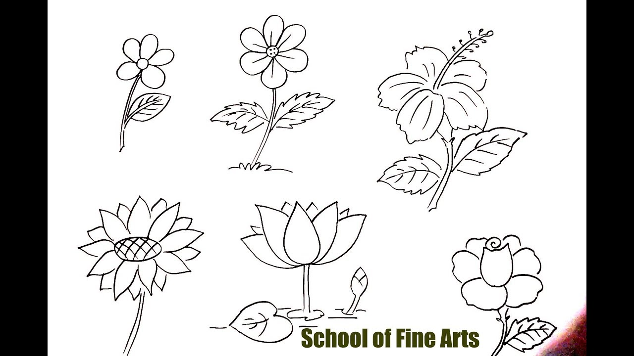 Flower Drawing : Quick & Easy Drawing Lesson - YouTube