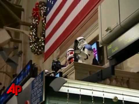 Raw Video: Darth Vader Opens Wall Street