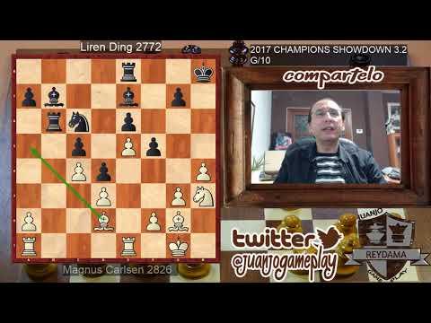 Magnus Carlsen VS Liren Ding #3.3 CHAMPIONS SHOWDOWN 2017, Partida rápida de 10 minutos por jugador
