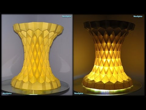 Column rhombus grid Hyperboloid Paper Lamp Fold