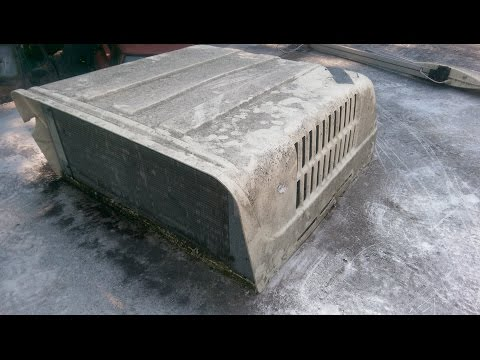 RV roof AC hosing off  condenser drain pan debris