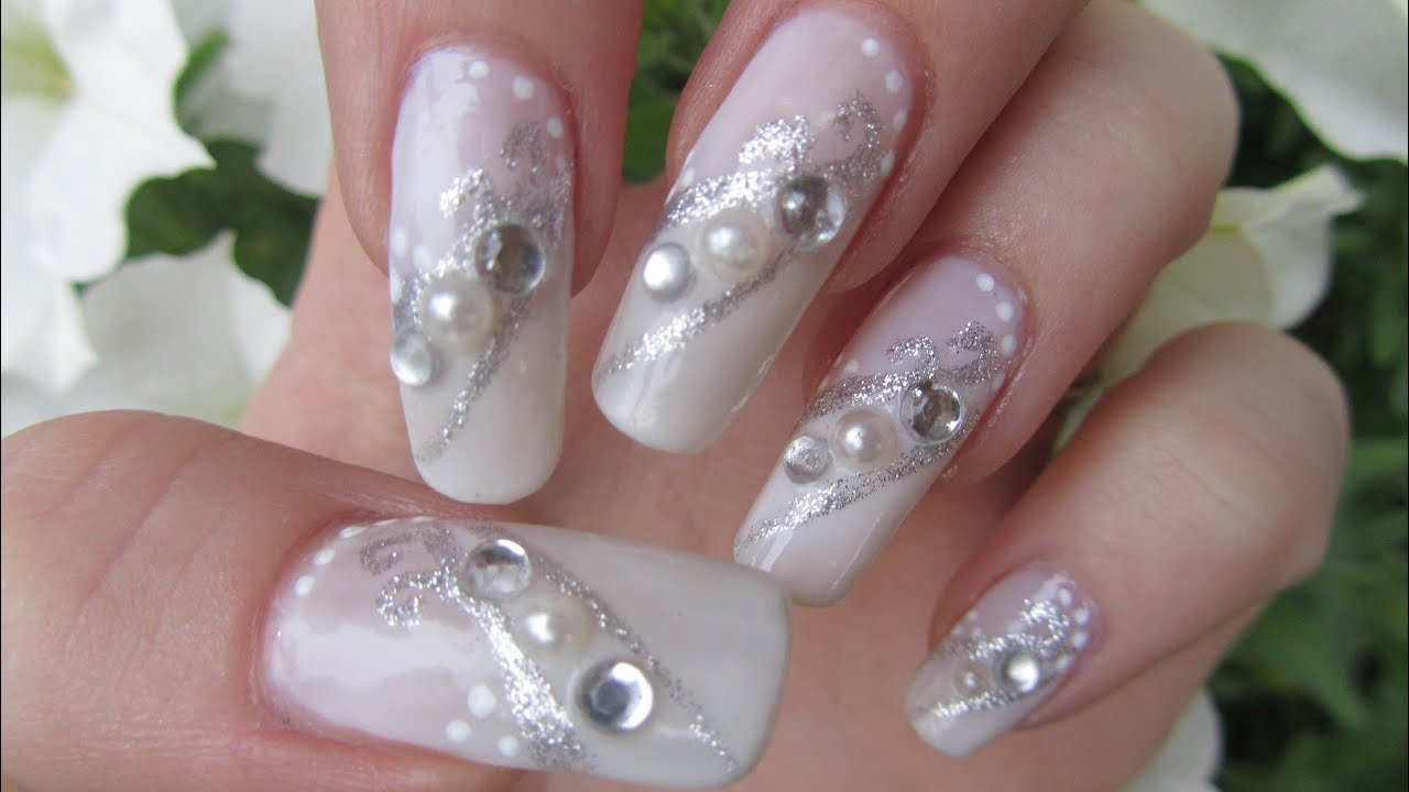 Silver & White Bridal Design with Half Pearls and Rhinestones Nail ...
