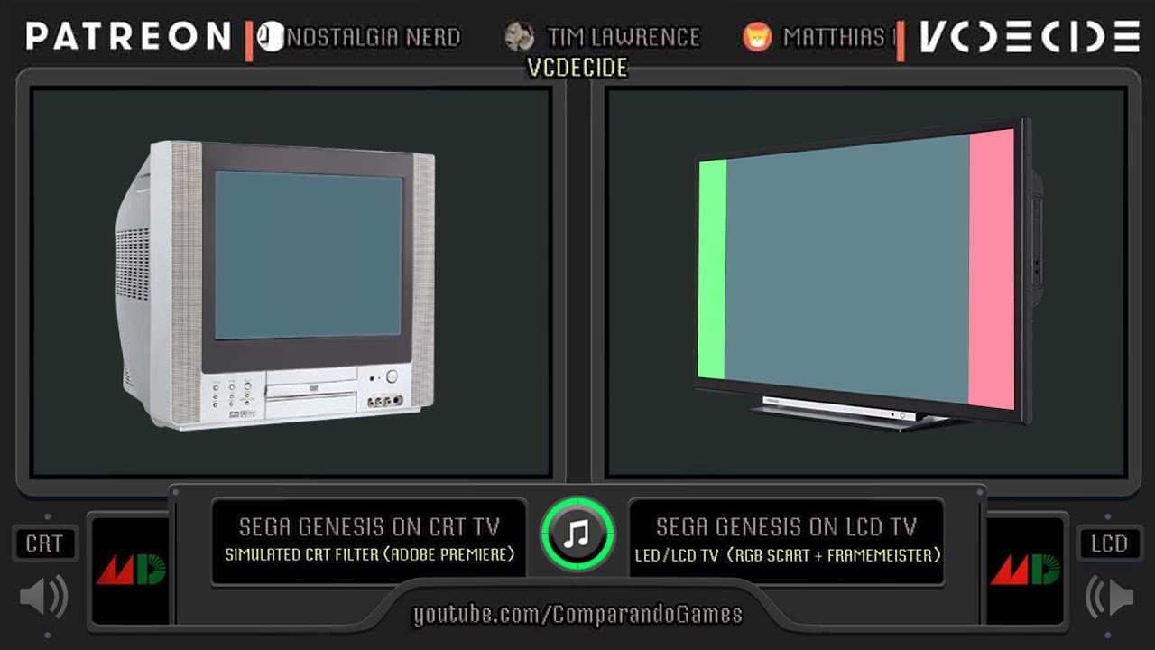 sega genesis on crt tv crt vs lcd side by side comparison crt vs led youtube. Black Bedroom Furniture Sets. Home Design Ideas