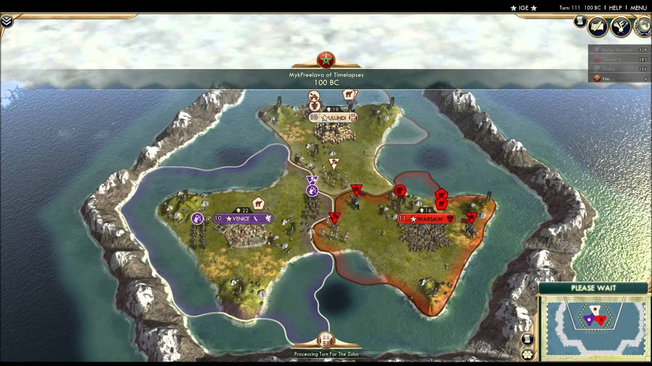 CIV5 Three Civs Battle on a Microscopic Map YouTube – Civ 5 World Map