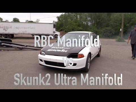 RBC vs Skunk2 Ultra Manifold Back to Back testing on K20 w/cams pump 93 Civic