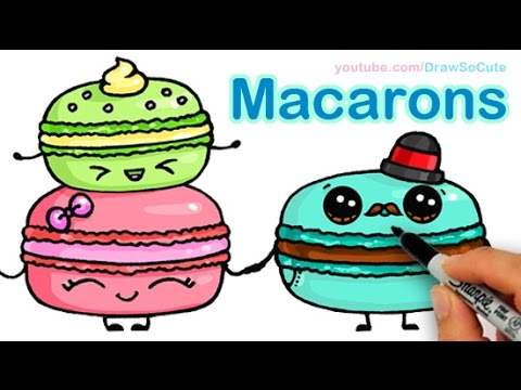How To Draw Macarons Cute Step By Step Sweet Cartoon Desserts Youtube