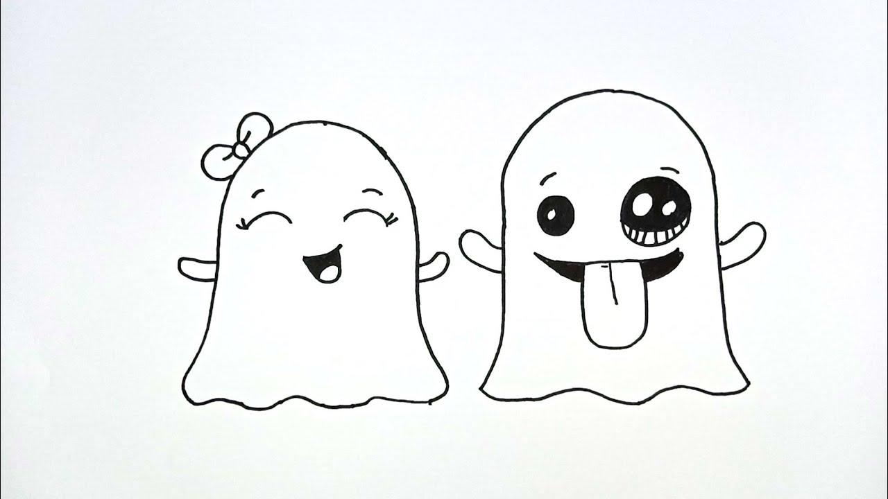 Cara Menggambar Emoji Hantu Lucu 👻