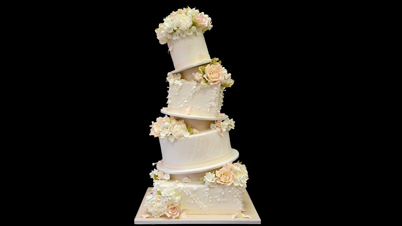 Topsy Turvy Ruffled Wedding Cake - YouTube