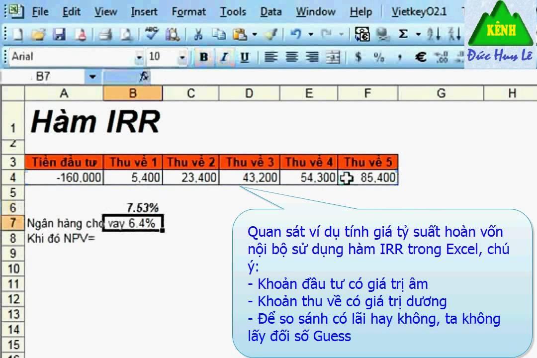 Tính tỷ suất hoàn vốn nội bộ trong Excel   Hàm IRR