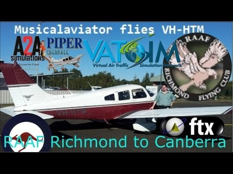 "A2A Piper Cherokee ""VH-HTM"" on Vatsim. Richmond to Canberra"