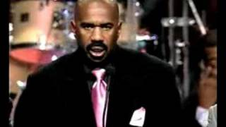Steve Harvey at funeral of Bernie Mac