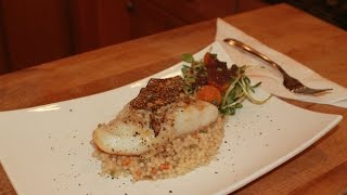 Sea Bass On A Bed Of Pearl Couscous With A Summer Salad