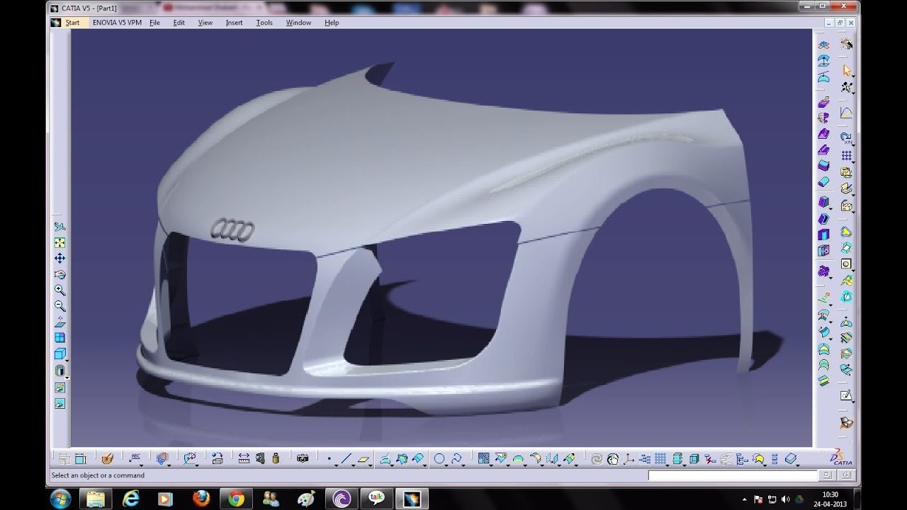 Catia V5 Tutorials Wireframe And Surface Design Multi Section Surface 3 Guide Curves Youtube