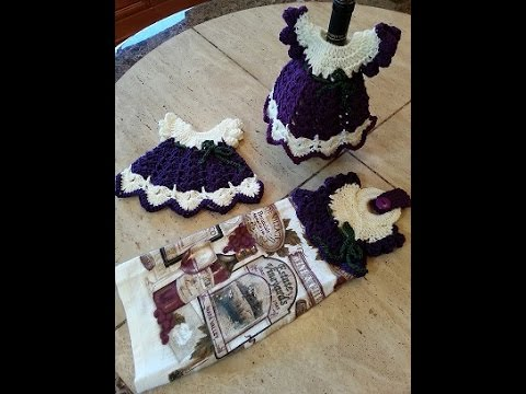 Crochet Wine Vintage Dress Towel Topper Set Diy Tutorial