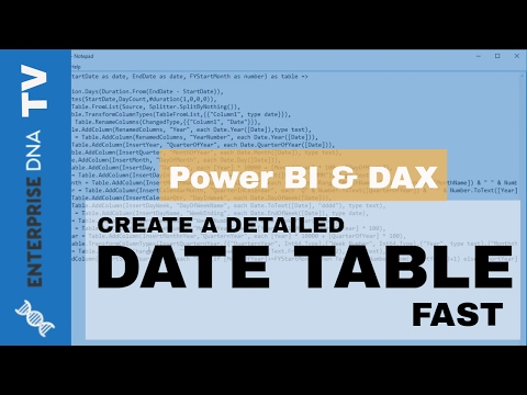 How To Create A Detailed Date Table in Power BI Fast - YouTube