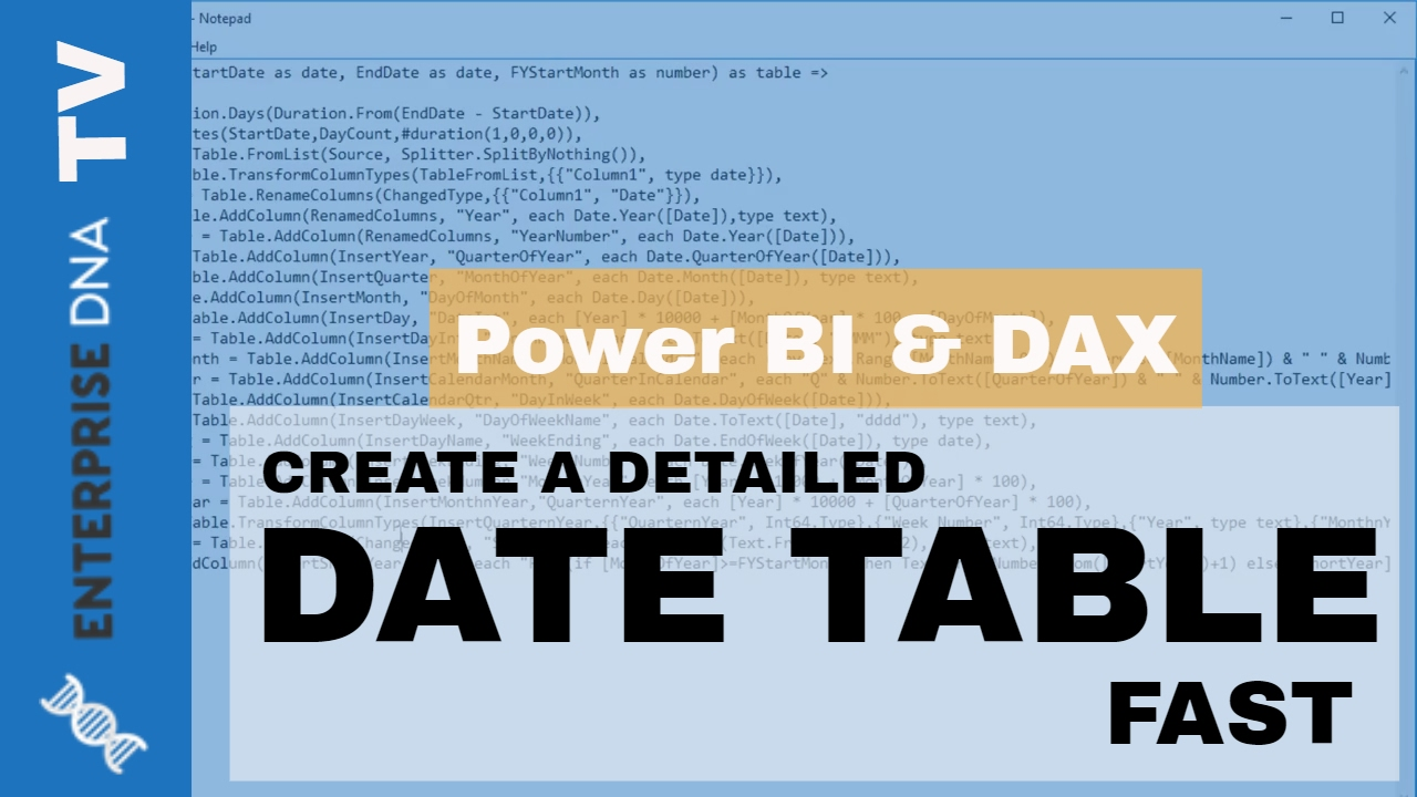 How To Create A Detailed Date Table in Power BI Fast