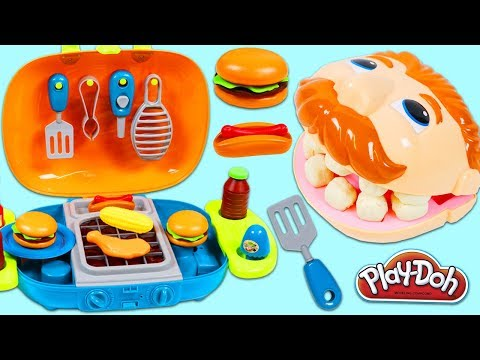 Thumbnail: Feeding Play Doh Drill N Fill BBQ Barbecue Playset and Toy Velcro Cutting Fruit & Toy Microwave!