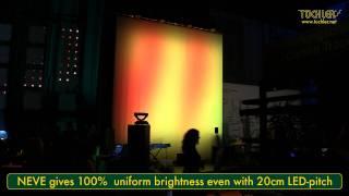 Projektionsfolie NEVE als Superdiffusor vor LED-Wall in Kombination mit Videoprojektion