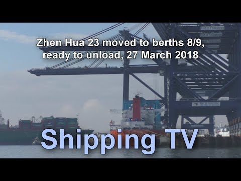 Zhen Hua 23 moved to berths 8 & 9 ready to unload, 27 March 2018