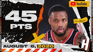 Damian Lillard UNREAL 45 Points 11 Threes 12 Ast Full Highlights vs Nuggets   August 6, 2020