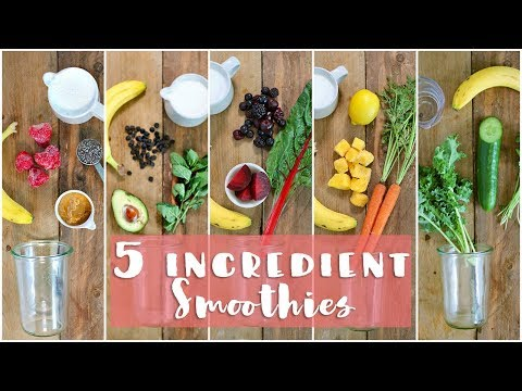 5 Healthy Breakfast Smoothies! 5 Ingredient Smoothies