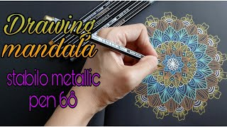 Drawing mandala with stabilo metallic pen 68