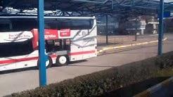 Zagreb:Central bus station,Bus arrival at platform