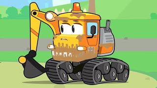 Excavator and new friends at the car wash - Construction Vehicles for kids - Vroom Vroom Cartoon