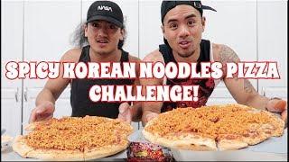 EPIC SPICY KOREAN NOODLES PIZZA CHALLENGE! EAT OFF!