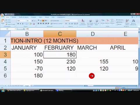 Cash Flow Projection (12 months) using Excel, Basic Intro - Very