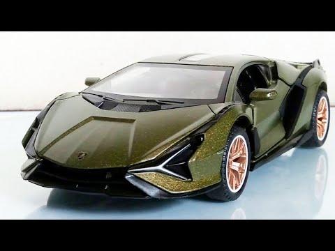 Lamborghini Sian FKP 37 1:32 scale Diecast Car Close Up (Green Metallic)