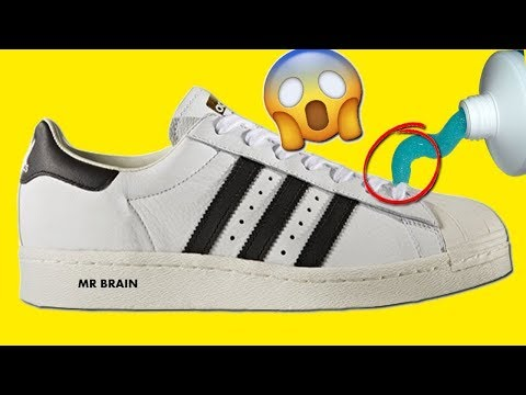 HACK TO MAKE ANY SHOES LOOK 100% BRAND NEW - How To Clean Adidas SuperStar White shoes !!!