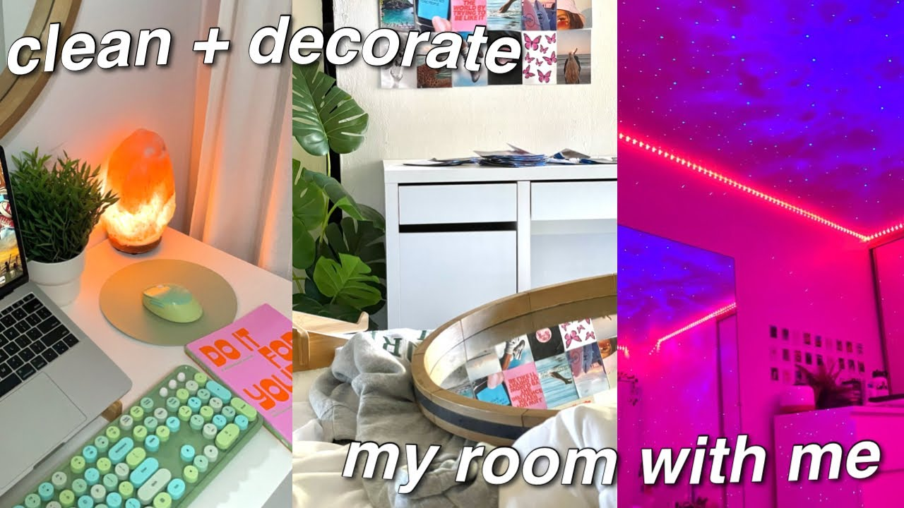 DEEP CLEAN AND DECORATE MY ROOM WITH ME *pinterest + tiktok vibes*