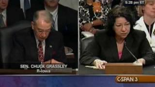 Sen. Grassley (R-IA) Questions Sonia Sotomayor