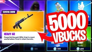 WHAT WILL I BUY WITH 5000 VBUCKS?! NEW HEAVY ASSAULT RIFLE! Fortnite Battle Royale Live