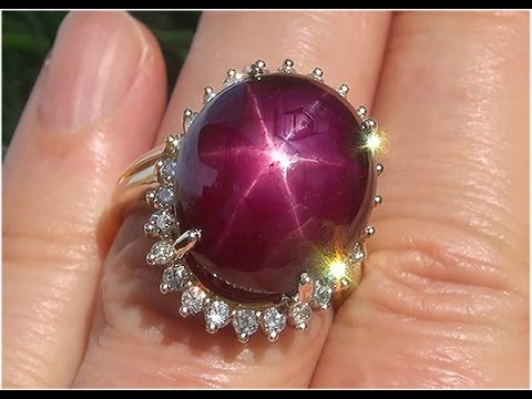 Certified Natural Red Star Ruby Diamond 14k Yellow Gold