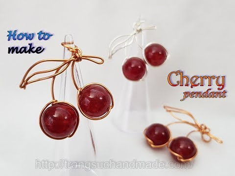 Cherry pendant with big round stone with holes - How to make jewelry from copper wire 501