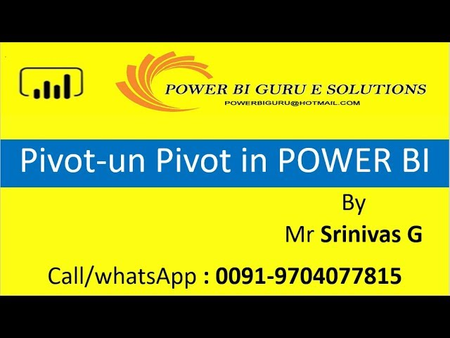 Pivot- Un Pivot in Power Bi | Power BI Training from Power BI Guru | Power BI tutorial for beginners