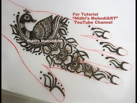 Mehndi Peacock Tattoos : Cute easy flowery peacock fusion henna mehndi design tutorial by
